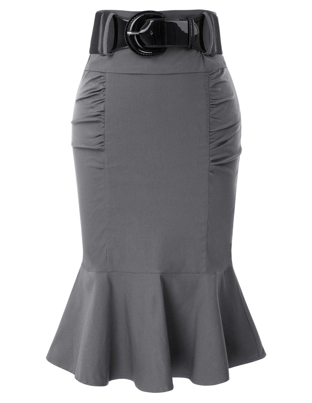 Belle Poque Gray Slim Fit Skirt Vintage High Waist Skirt L BP627-2