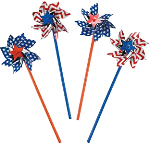 Patriotic Pinwheels Bulk (36 Pack) Memorial Day Party Favors, 4th of July Party Supplies Favors for Kids & Adults, Parade Accessories Independence Day Fourth of July Decorations Wind Spinner for Outdoor Yard & Garden by 4E's Novelty