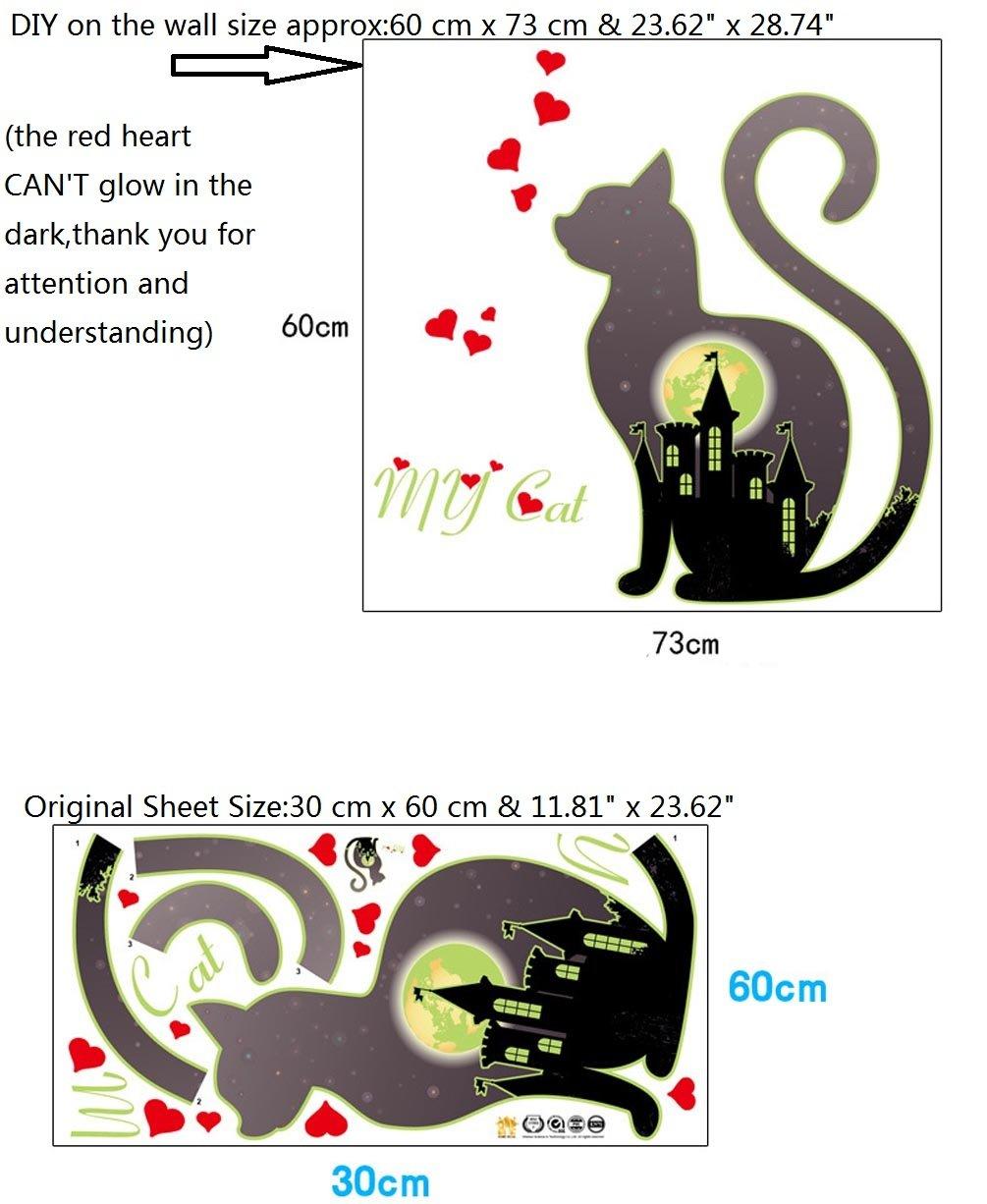 BIBITIME DIY 3 Black Cats Palying with Birds Under Street Lamp Wall Decal Nursery Bedroom Living Room Porch Back Door Office Shop Window Sticker Vinyl Art Mural for Kids Room Decor 31.49 x 31.49 2629