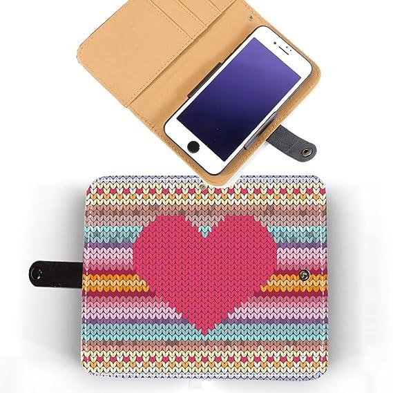 Amazon Cute Heart Knitting Pattern Genuine Leather Phone Case