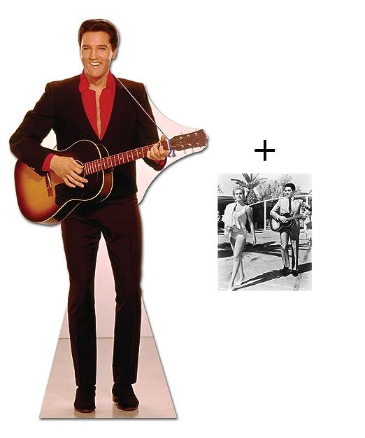 John SIMM de* - ELVIS en camiseta de color rojo de guitarra - Póster de cartón STAND-