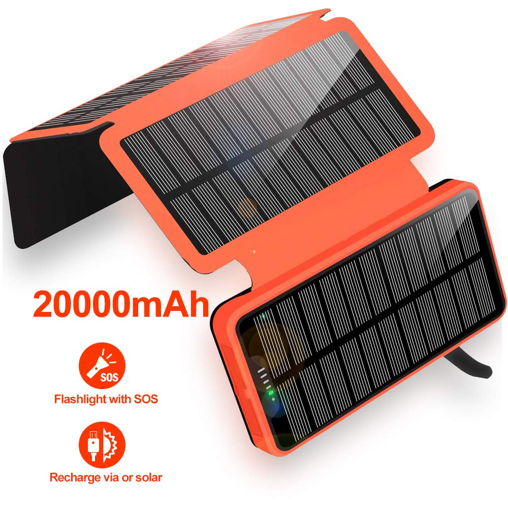 Solar Charger - 20000mAh Portable Solar Power Bank Waterproof Battery Packs with Dual Ports Solar Phone Charger for iPhone, Samsung, iPad, etc (Orange) by Soyond