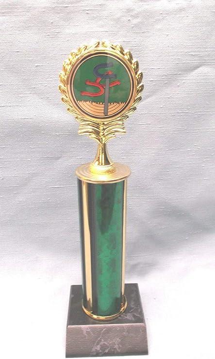 t-ball BASEBALL insert trophy green column  wood base
