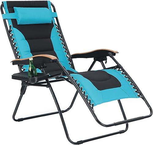 PHI VILLA Oversize XL Padded Zero Gravity Lounge Chair Wide Armrest Adjustable Recliner