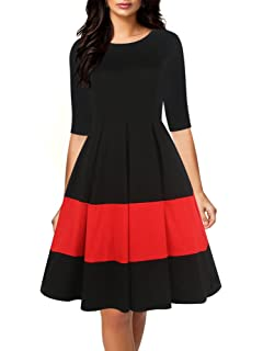 oxiuly Womens Vintage Half Sleeve O-Neck Contrast Casual Pockets Party Swing Dress OX253