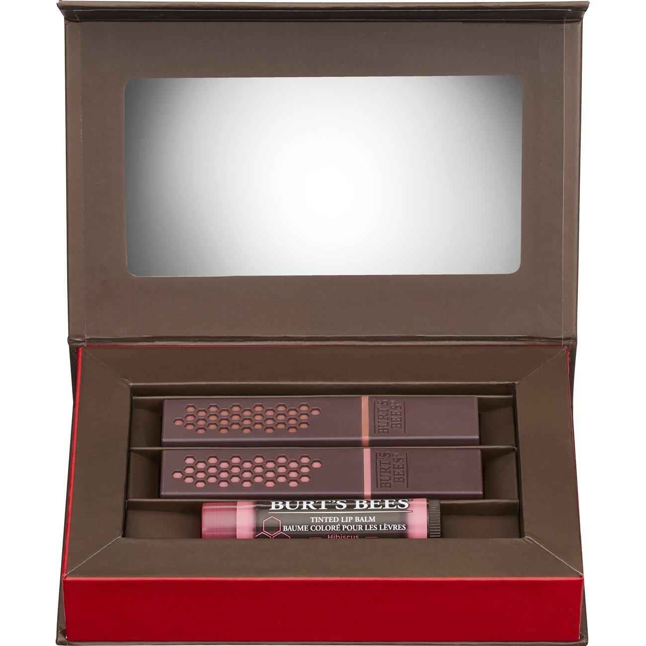 Burt's Bees Lip Color Trio Gift Set, 3 Lip Color Products - Blush Basin Lipstick, Suede Splash Lipstick and Hibiscus Tinted Lip Balm