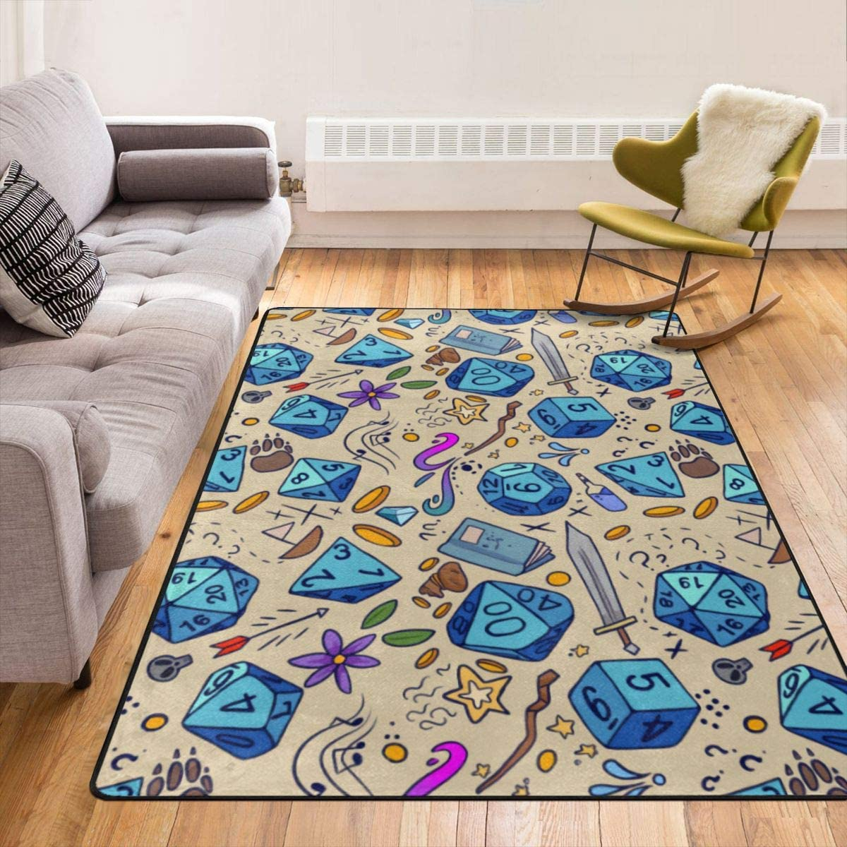Super Soft Modern DND Pattern Area Rugs Living Room Carpet Bedroom Rug for Children Play Solid Home Decorator Floor Rug and Carpets 210 x 150 cm