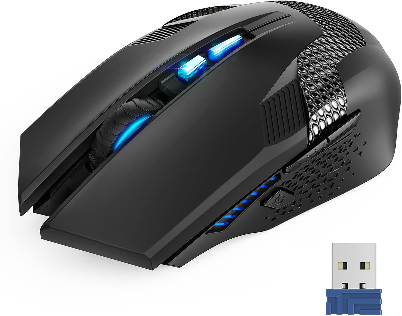 TECKNET Ratón Gaming Mouse Óptico Inalámbrico, Ratón para Juegos Programable, 2.4G Portátil con Receptor Nano, 8 Botones, 6 Niveles de dpi hasta 4800, para Trabajar, Juegos, Uso Diario, Negro