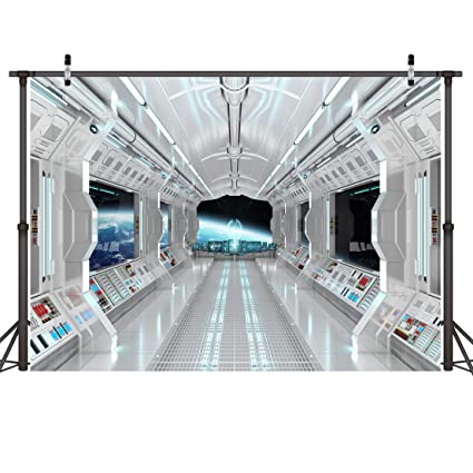 LYWYGG 7x5ft Vinyl Spaceship Interior Background Futuristic Science Fiction  Photography Backdrops Spacecraft Cabin Photo Shoot Studio