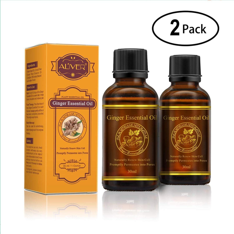 Aceite esencial de jengibre vegetal, drenaje linfático Aceite esencial de jengibre para masaje corporal, dolor muscular, aromaterapia, relajación, terapia cutánea (paquete de 2)
