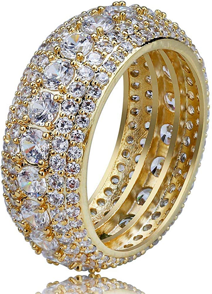 TOPGRILLZ 10mm 5 Rows 14K Gold Plated Iced Out Premium Diamond CZ Royal Eternity Wedding Engagement Band Ring for Men Women