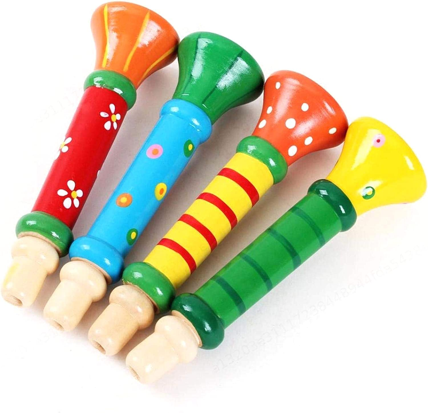 LAQI Durable and Practical Musical Toys Multi-Color Baby kids Wooden Horn Hooter Trumpet Instruments Music Toys Random