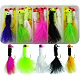 20pcs/box Crappie Jigs Assorted Colors Lead Head Hook With Marabou Chenille for Bass Pike Walleye Fishing Jig With Feather, Fishing Hard Lure Accessory Ice Fishing Jigs