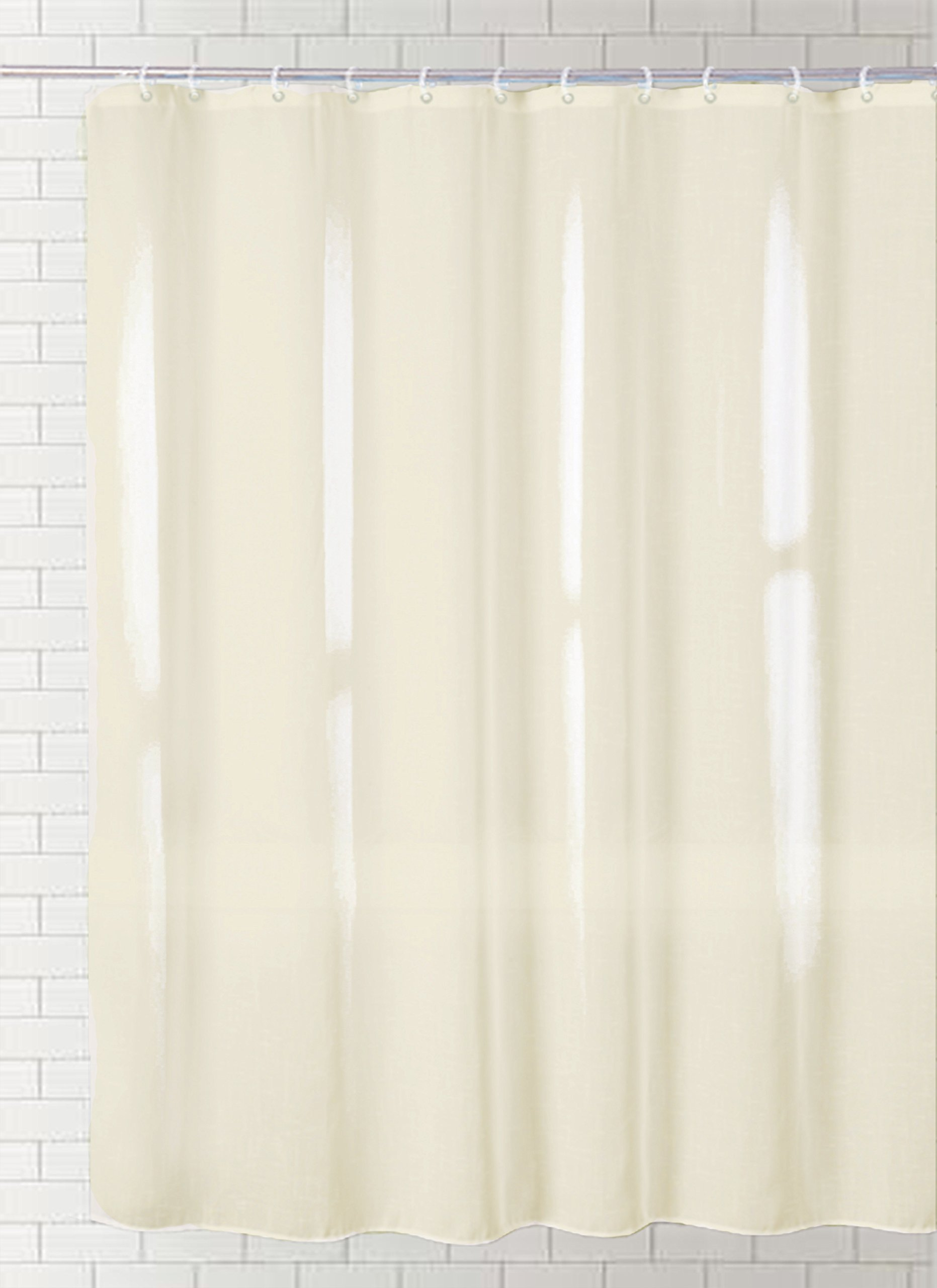 J&M Home Fashions Polyester/PEVA Shower Curtain 70x72, Antibacterial and Mildew Resistant, Waterproof/Water-Repellent to Resist Germs, Bacteria & Mold for Everyday Use-Cream