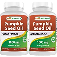 Best Naturals Pumpkin Seed Oil Capsules, 1000 mg, 180 Count (Pack of 2)