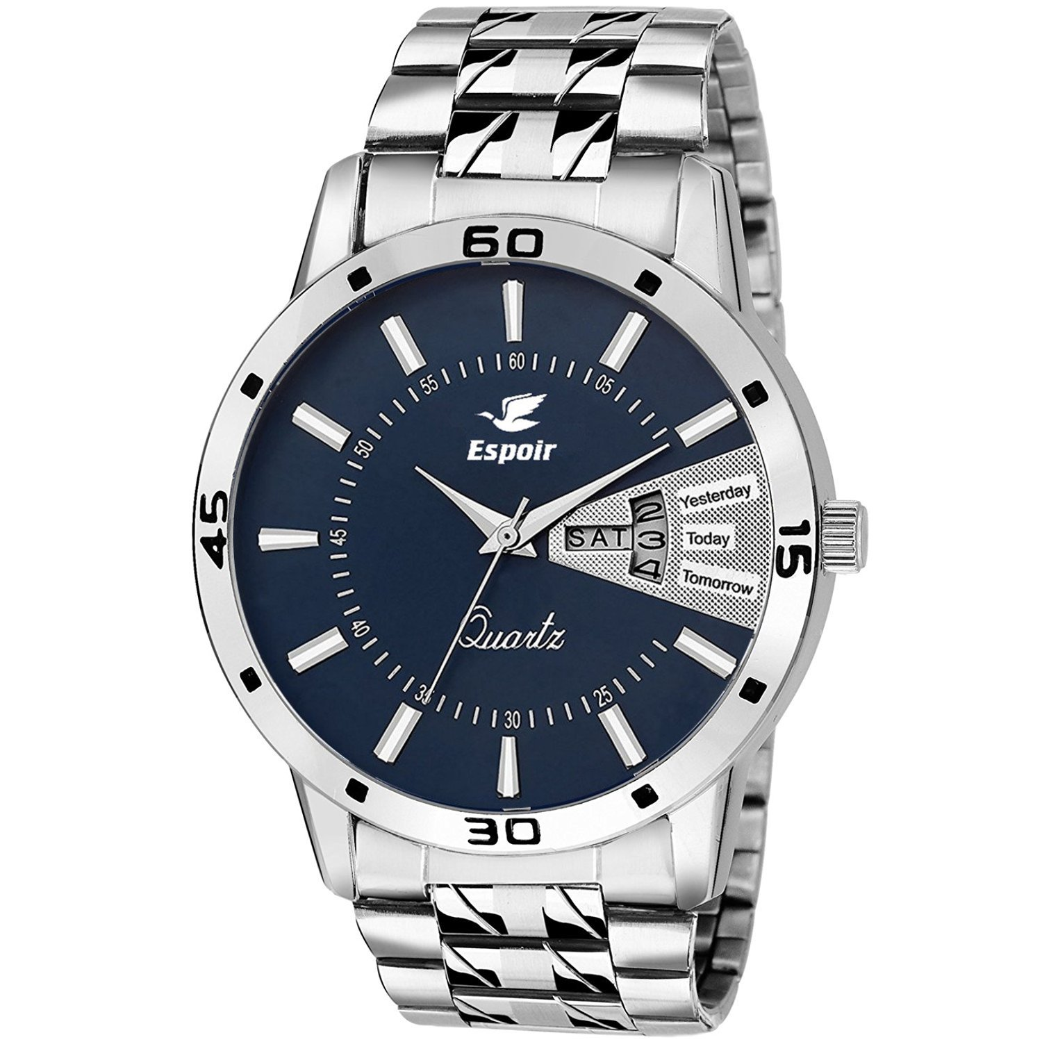 Espoir Stainless Steel Day and Date Blue Dial Analog Mens