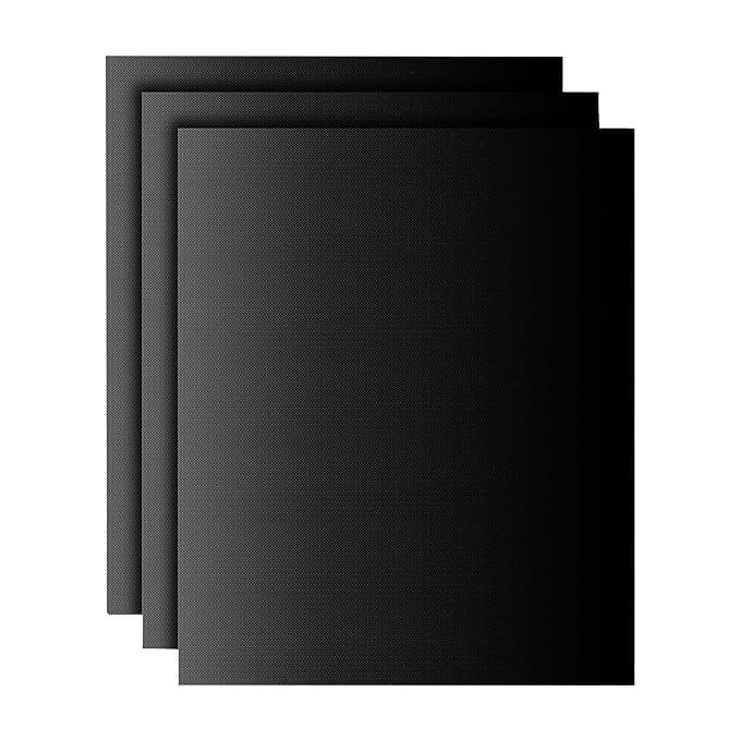 Tapetes de barbacoa | Tapetes para hornear | color negro | juego de 3 | reutilizabile | material silicona con teflon | 100% antiadherente | accesorios ...