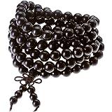 Jovivi 8mm Bois d'ébène Noir Perles Naturels Collier Chaîne Bracelet Tibétain Bouddhiste Buddha Mala Chinois Noeud Élastique Homme,Femme
