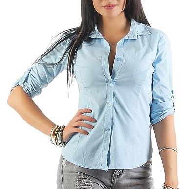 fb50a3be59 Mississhop 169 Damen Klassische Hemdbluse Business Hemd Casual Bluse  Oberteil Top Tunika T-Shirt tailliert