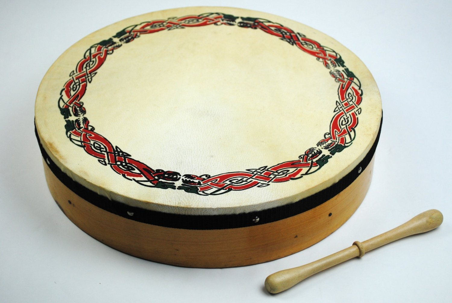 Original 16 Inch Irish Bodhran with Celtic Design and Rosewood Beater