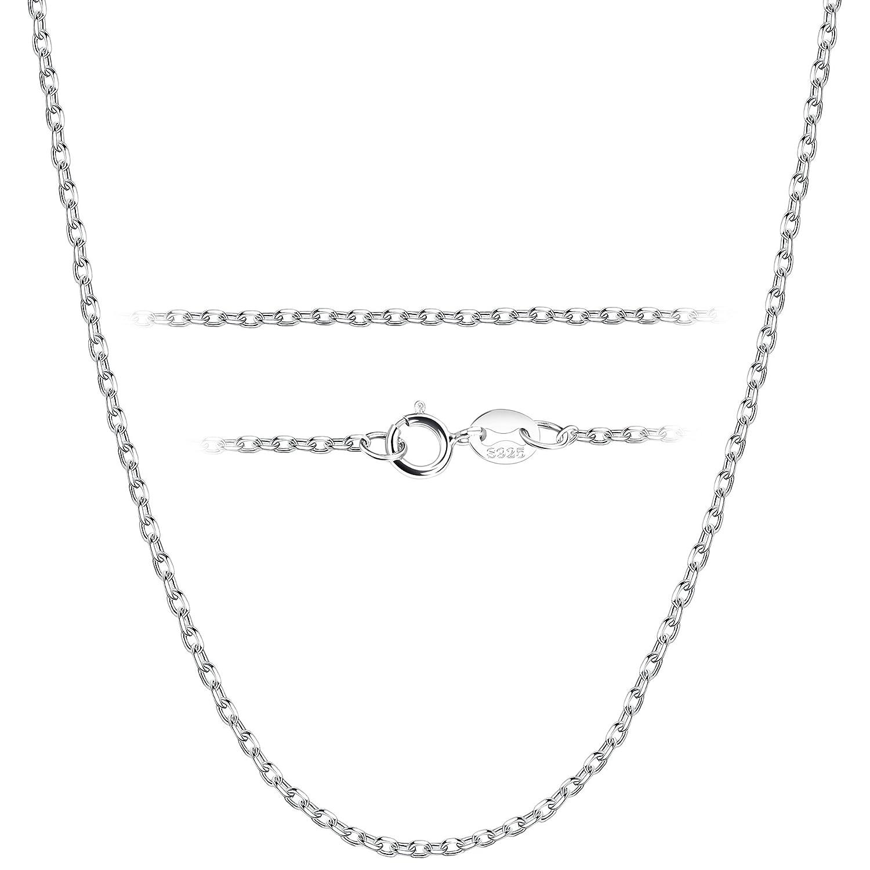 BESTEEL 1.5 MM Collier en Argent 925 pour Hommes Femmes Longue Chaîne Collier Fine approprié pour pendentifs avec Coffret Cadeau, 41-71 CM 41 CM N063Y-L41