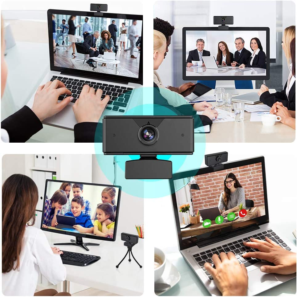 Dual Built-in Microphones USB Plug and Play Conference Study Video Calling Full HD Video Camera for Computers PC Laptop Desktop Skype Ylife 1080P Webcam Fulfilled by Black