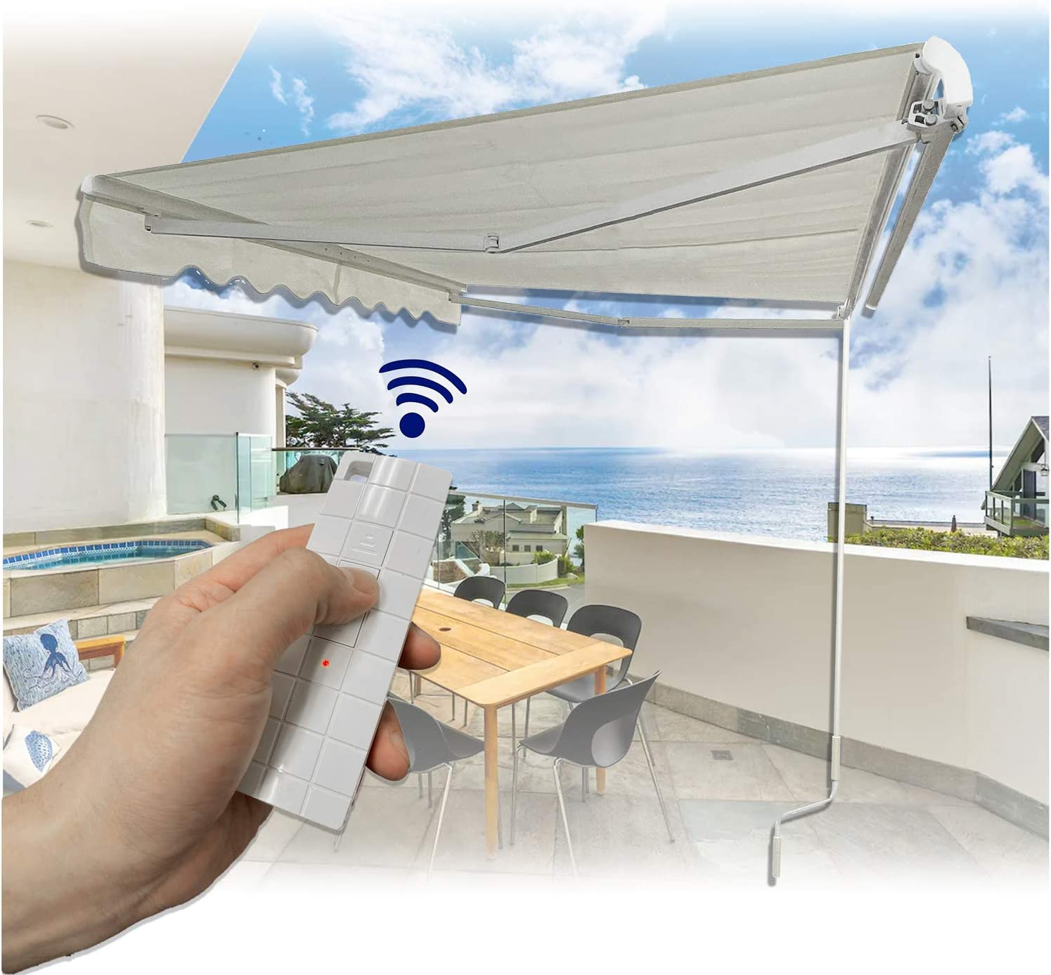 HTTMT- 11.5'×8' (Electronic w/Remote Control) Retractable Awning Aluminum Patio Sun Shade With Handle Crank Pole For Outdoor Home Motorhome RV Restaurants Travel Camper [P/N: SF-HTM11.5X8-IVORY]