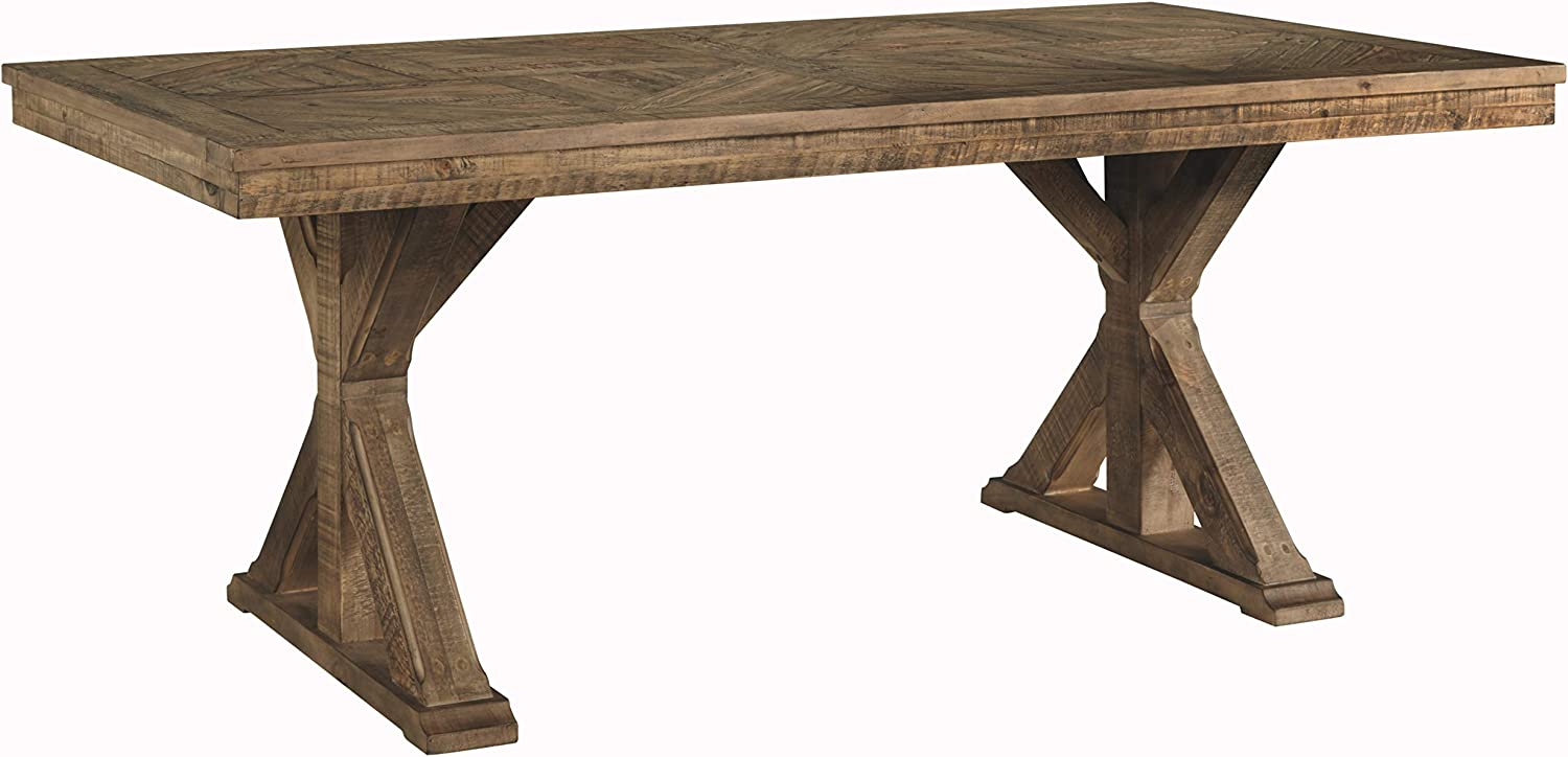 Signature Design By Ashley – Grindleburg Rectangular Dining Room Table – Casual Style – White Light Brown