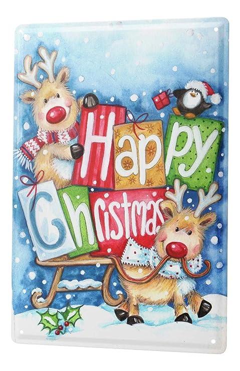 Cartel Letrero de Chapa XXL Navidad Retro Reno de la Feliz ...