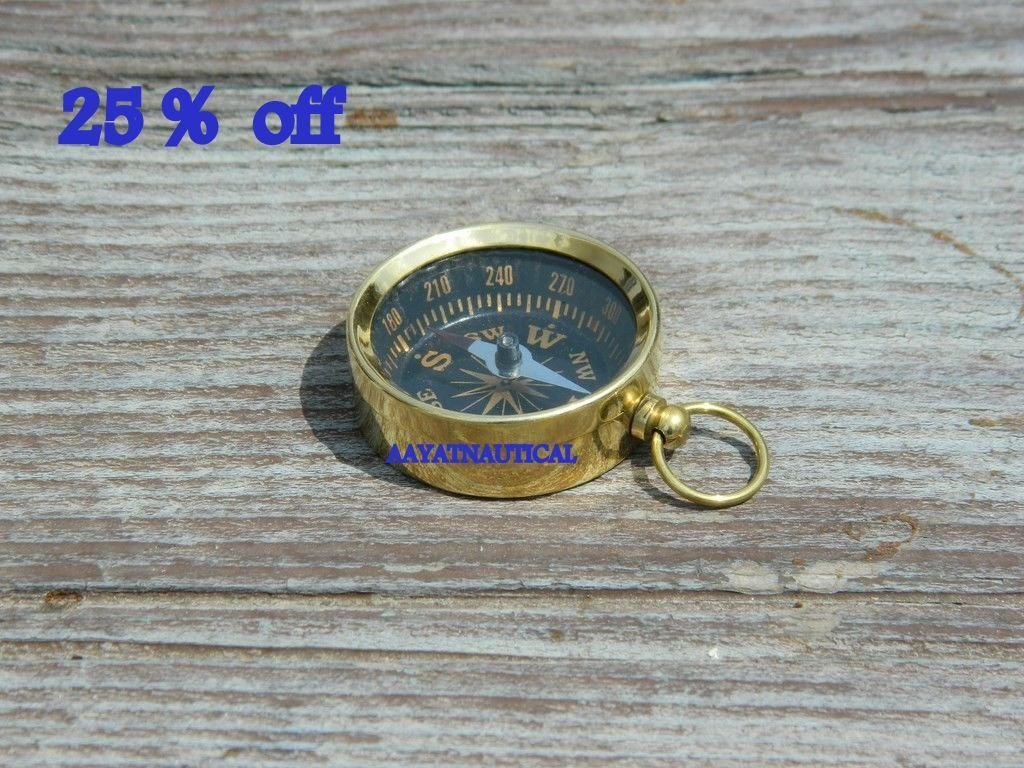 UNITS BRASS COMPASS FOR KEY CHAIN NAUTICAL INSTRUMENT MARINE GIFT PROP Arsh Nautical