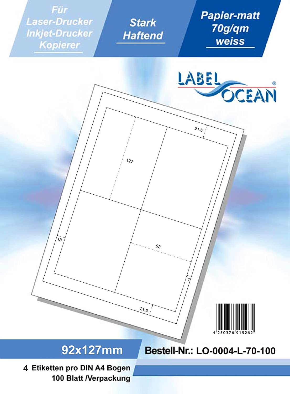 Klebeetiketten DIN A4 weiß 64x26,7mm 100 Blatt Laser Inkjet Kopierer