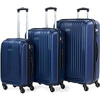 ITACA - Juego de Maletas de Viaje Rígidas 3 Pzs. Set Trolley 4 Ruedas (Cabina + Mediana + Grande) Resistentes y Robustas…