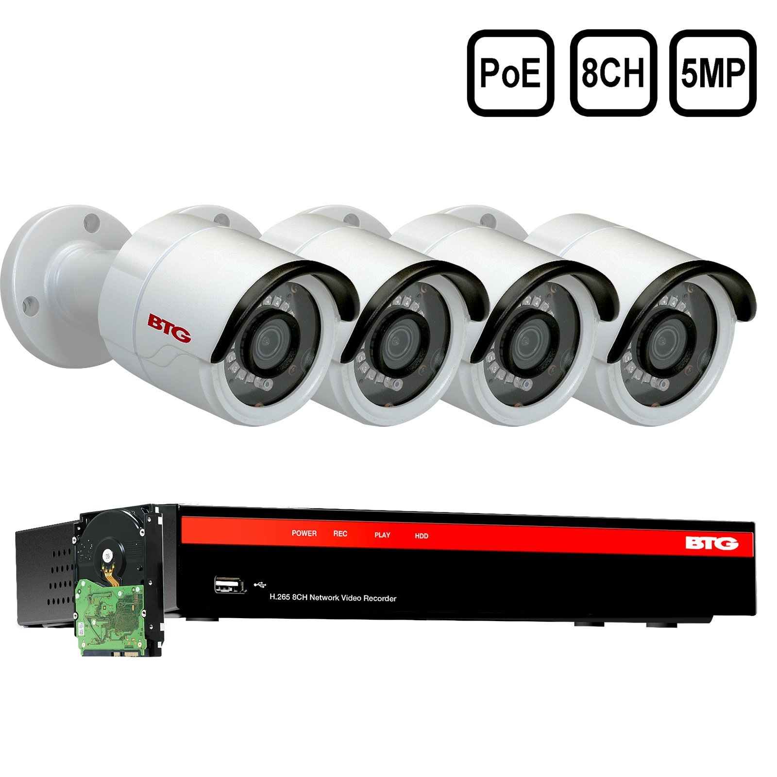 BTG 8CH 5MP 4 Cameras Poe Security Camera System 4K NVR Built-in PoE with Outdoor 5MP Surveillance IP PoE 4 3.6mm Bullet Cameras HD 2592 x 1944 IR CCTV System H265 1TB HDD by BTG Security