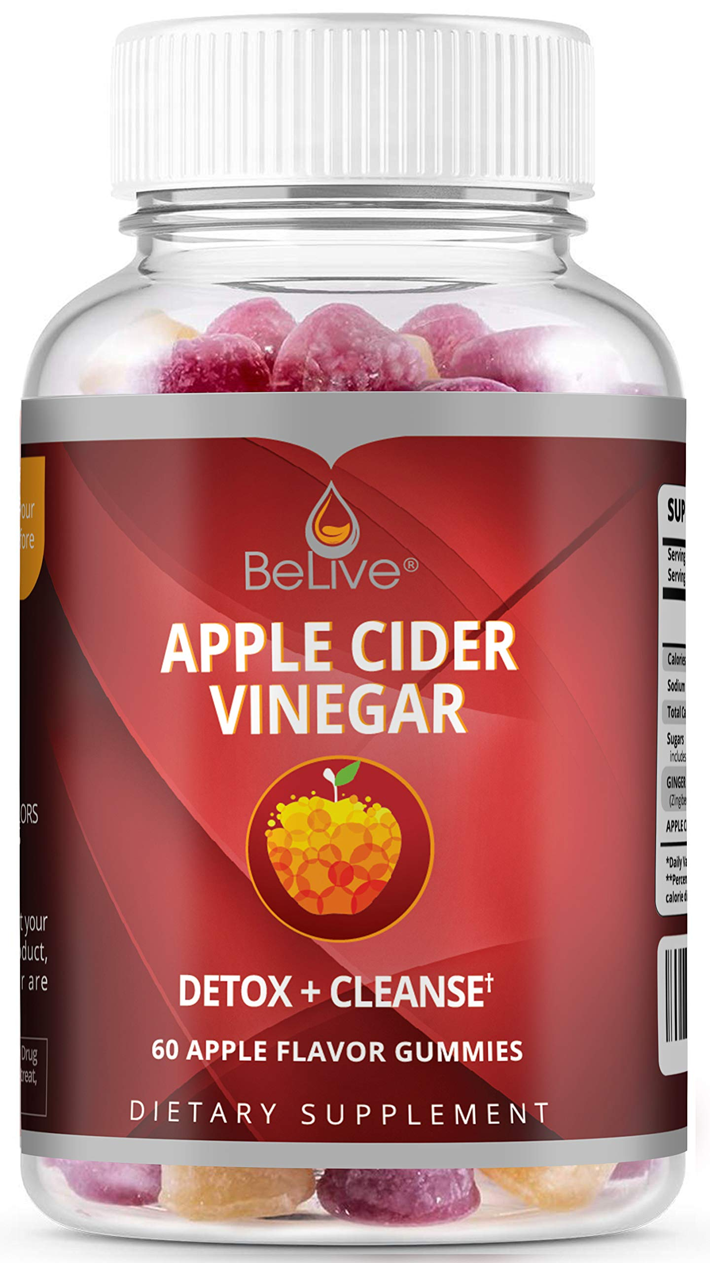 BeLive Apple Cider Vinegar and Ginger Gummies - Detox, Cleanse, Bloating Relief & Appetite Suppressant for Women, Men, and Kids | Natural & Raw - 60 Gummies