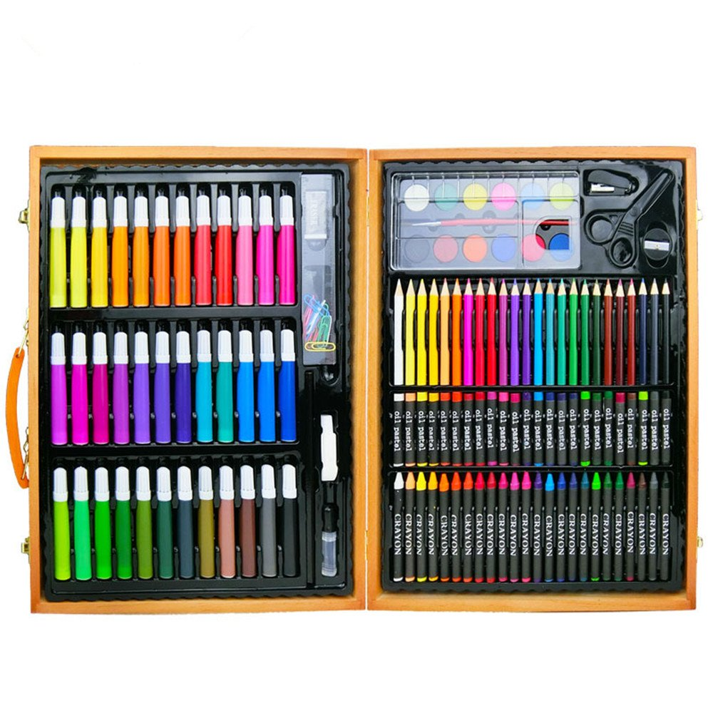 Artist art drawing set, Perfect For Beginner Artist Coloring And Drawing Kits - 150 Pieces Of Wooden Box Art Set For Painting And Drawing Set Art Supplies Pencils. Gifts for children and children. by JIANGXIUQIN (Image #2)