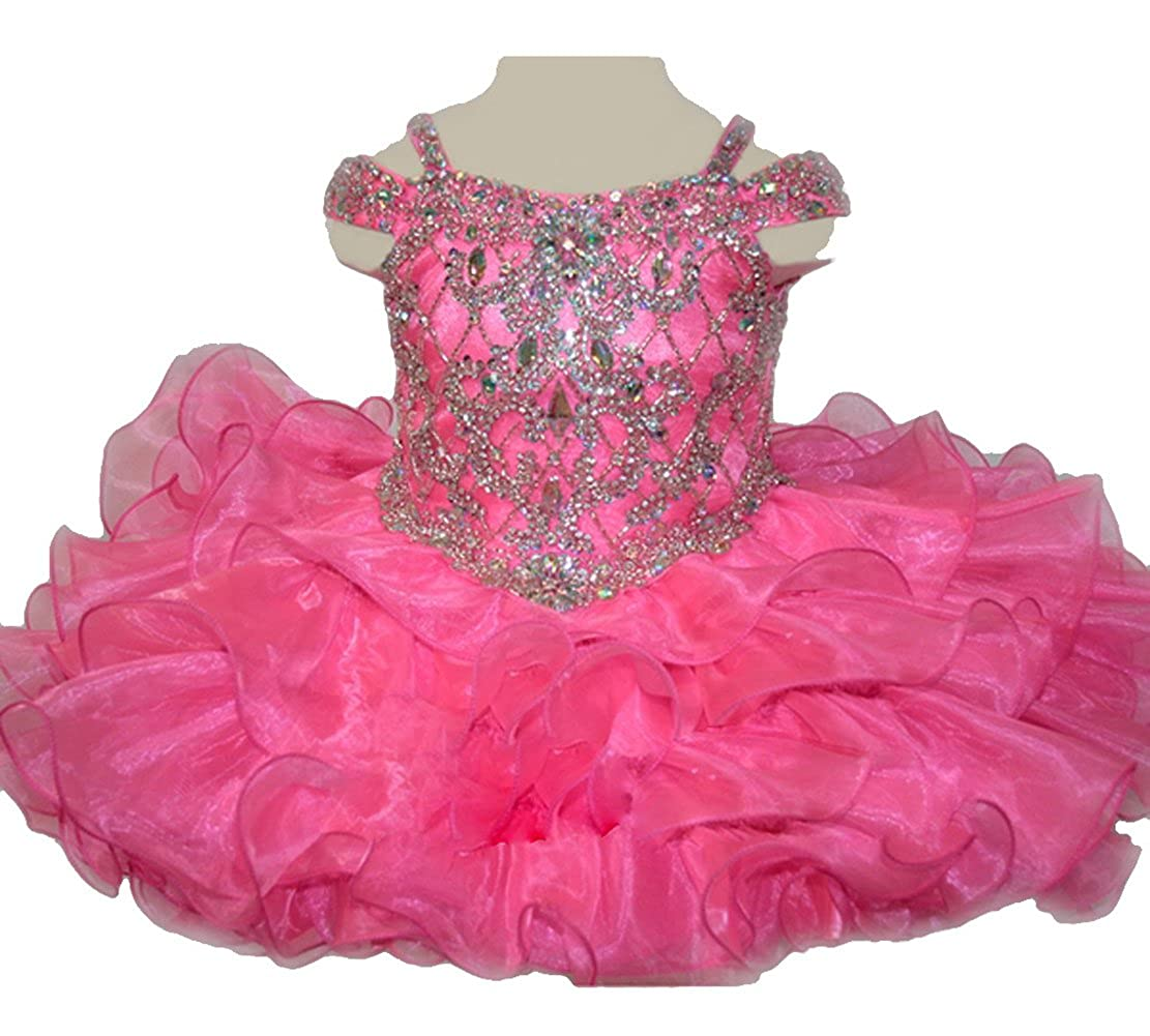 HuaiLian Baby Girls Off The Shoulder Rhinestones Toddler National Pageant Cupcake Dresses