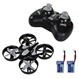 SGILE Mini RC UFO Quadcopter Nano Drone, 360° Flip One Key Flip/Return/Rotation Recover Balance Headless Mode, 2.4GHz 4CH 6 Axis for Kids Children Boys Grey (Two Batteries Included)
