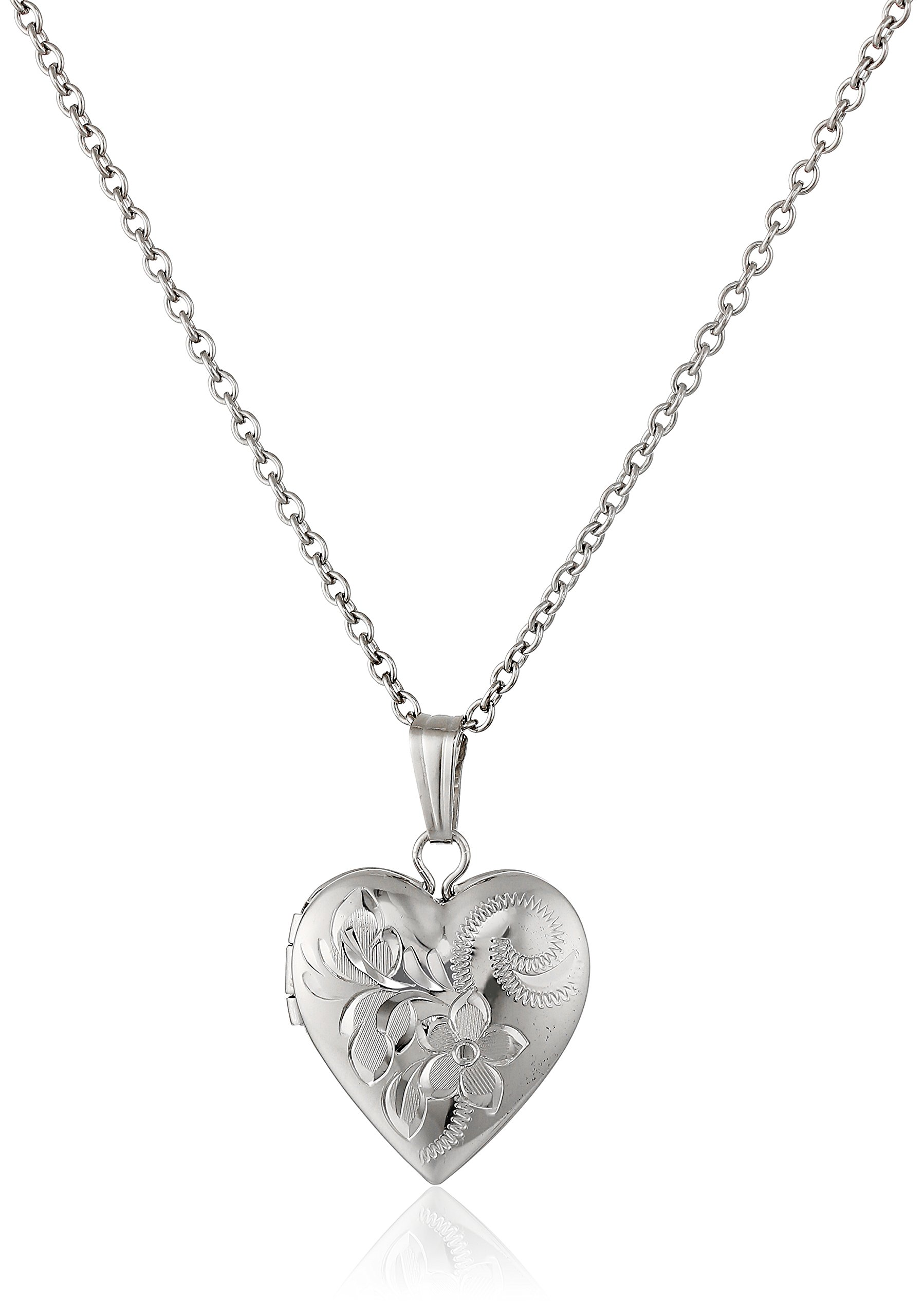 Children's Sterling Silver Hand-Engraved Heart Locket Necklace, 15''