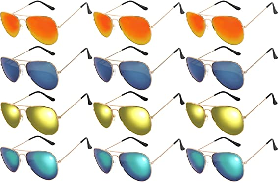 0f38746836c64 Assorted Colored Mirror Lens Gold Frame Fashion. Bulk Sunglasses -  Wholesale Bulk Party Glasses, Party Supplies. (Mix Mirror): Clothing