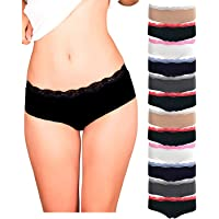 Emprella Womens Lace Underwear Hipster Panties Cotton/Spandex - 10 Pack Colors and Patterns May Vary