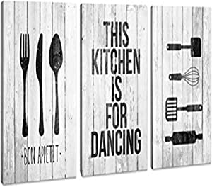 Canvas Wall Art for Kitchen Wall Decor vintage wood Rustic 3 panels kitchen Decoration Artwork Posters and Prints