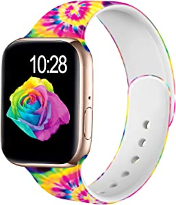 Adorve Compatible with Apple Watch Band 40mm 38mm iWatch SE Bands Series 6 5 4 3 2 1 Cute Floral Soft Silicone Replacement Sport Wristbands for Women, Tiedye Pattern S/M