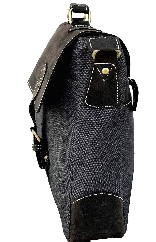 AOL Vintage Canvas Leather Messenger Traveling Briefcase Shoulder 16 Laptop Bag Large Grey
