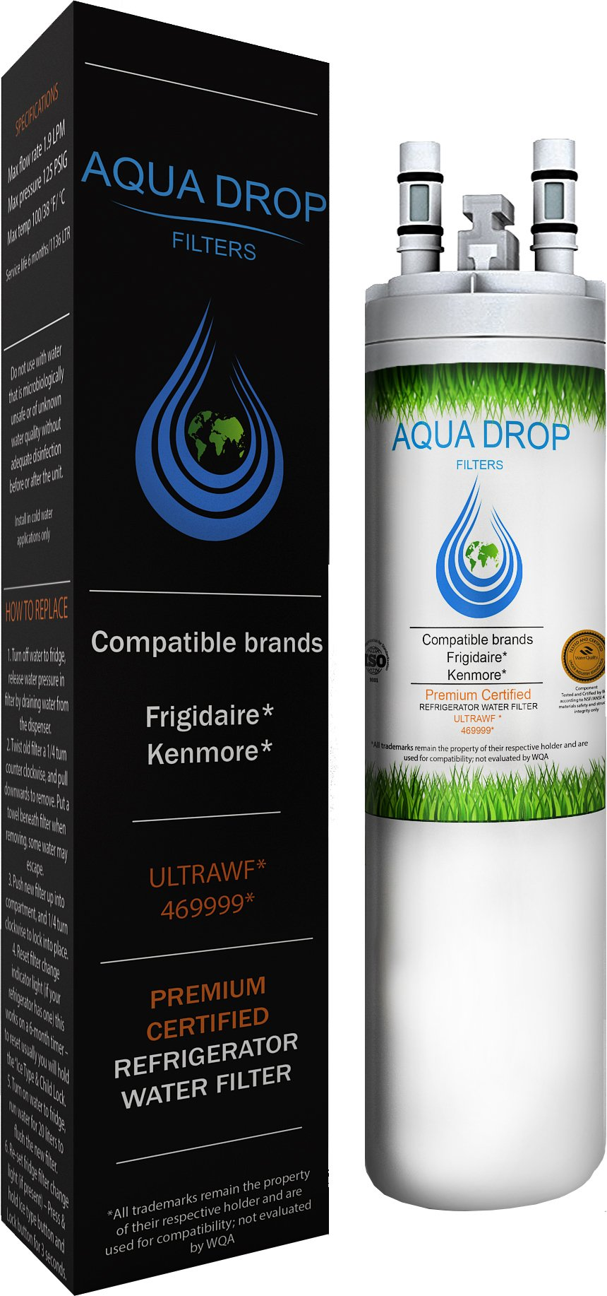 Aqua Drop filters Compatible ULTRAWF Refrigerator Water Filter 9999, 46-9999, FGHC2331PFAA - Certified by WQA