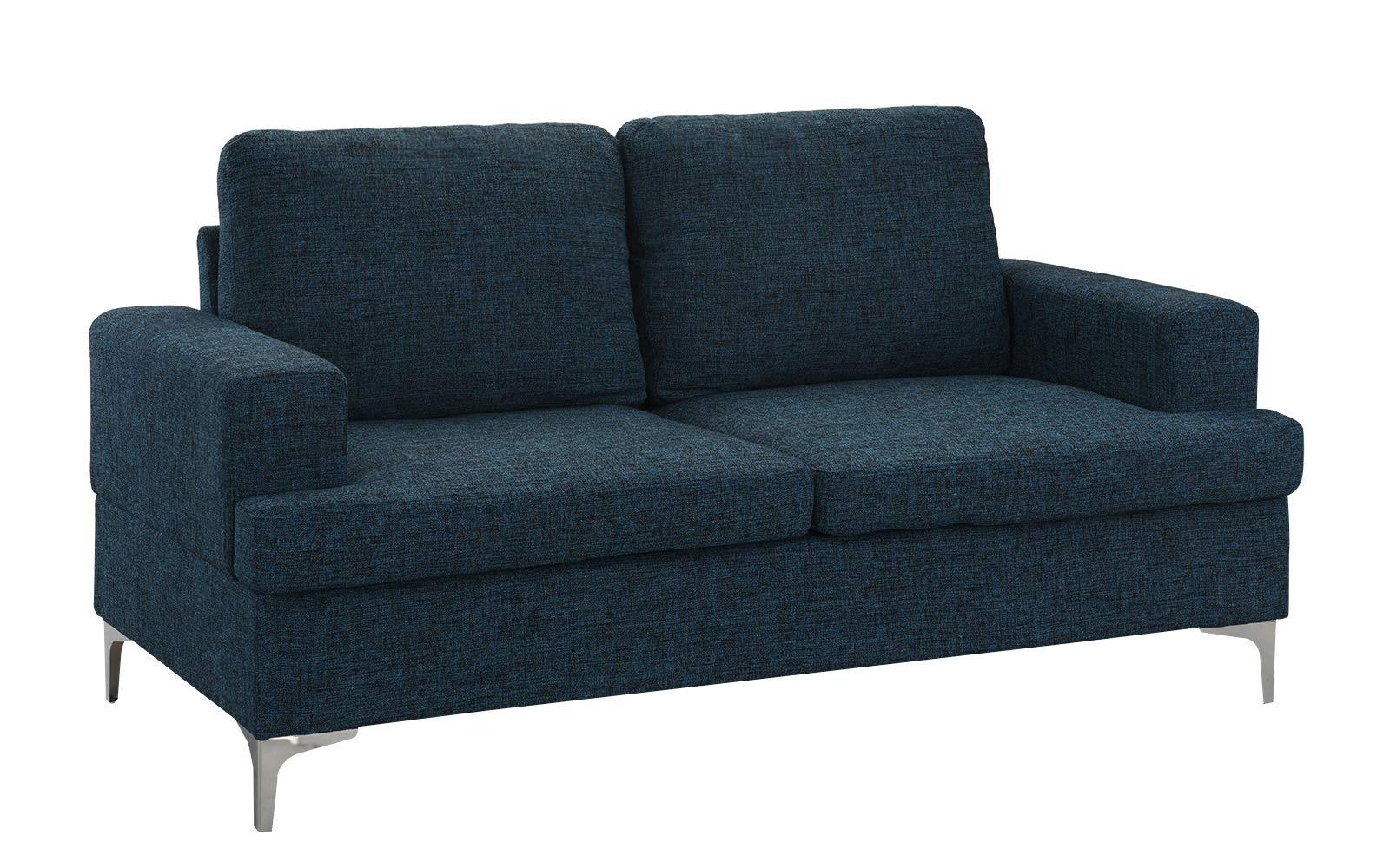 Mid Century Modern Linen Fabric Loveseat Couch (Dark Blue) by Casa Andrea Milano