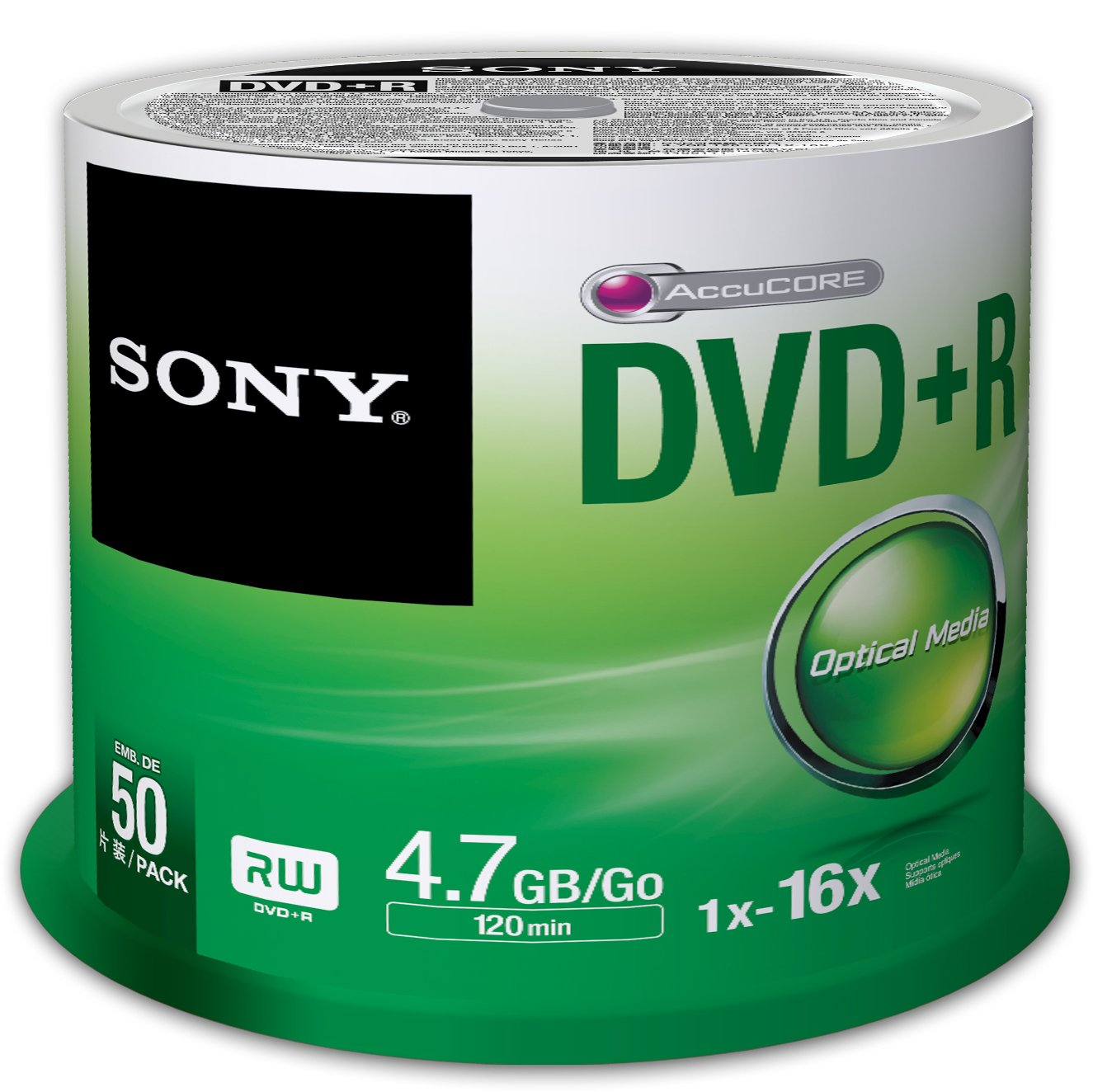 Sony 50DPR47SP 16x DVD+R 4.7GB Recordable DVD Media - 50 Pack Spindle by Sony