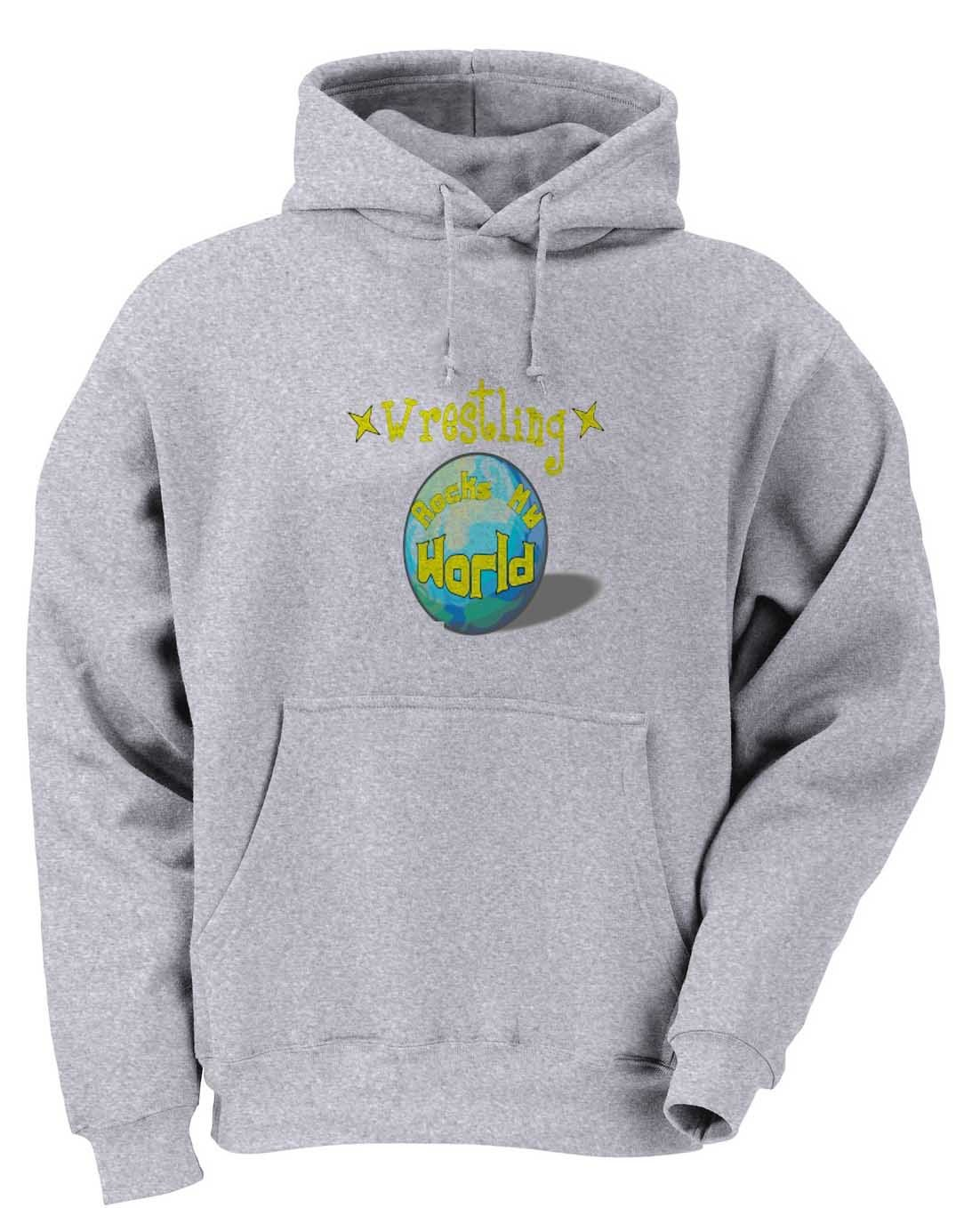 Wrestling Rock My World Youth Hooded Sweatshirt (for Kids) ASH GREY LARGE