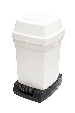 Rubbermaid RNAP2PEDW - Cubo para panales con pedal, capacidad de 65 l, blanco