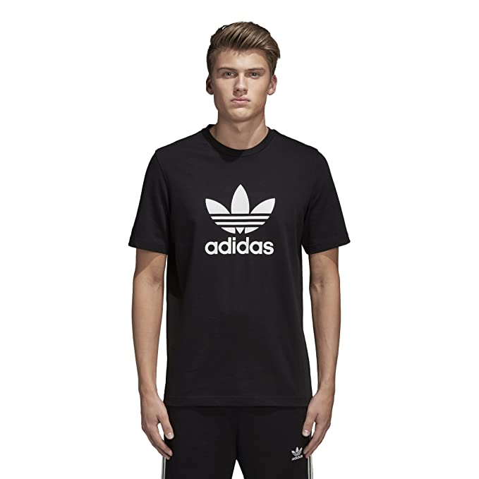 adidas Originals Men's Trefoil Tee Shirt, Black, Medium