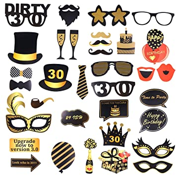 Amazon.com: Amosfun Birthday Photo Props DIY 30 Years Selfie ...